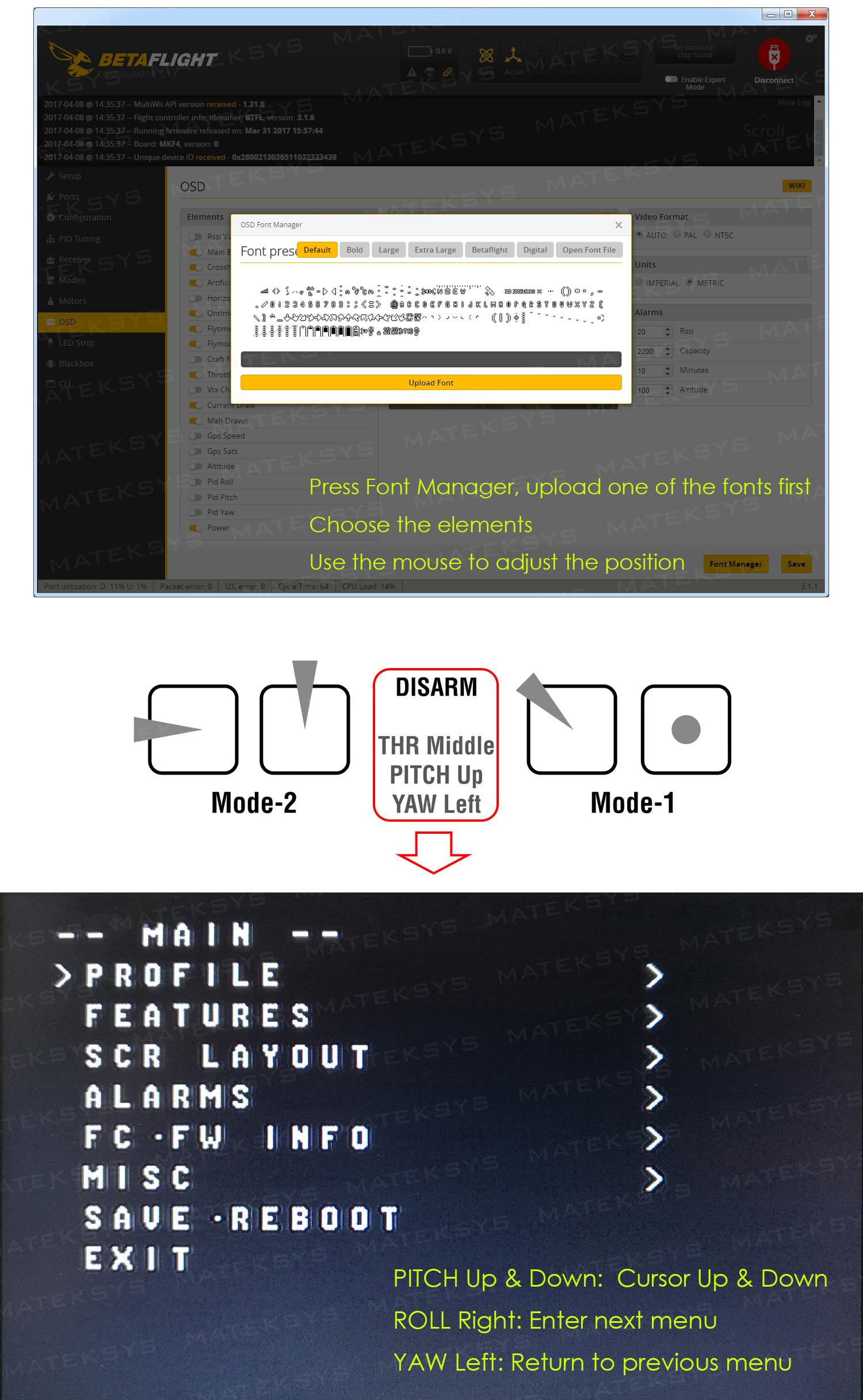 Flight Controller F405-OSD (EOL) – Matek Systems