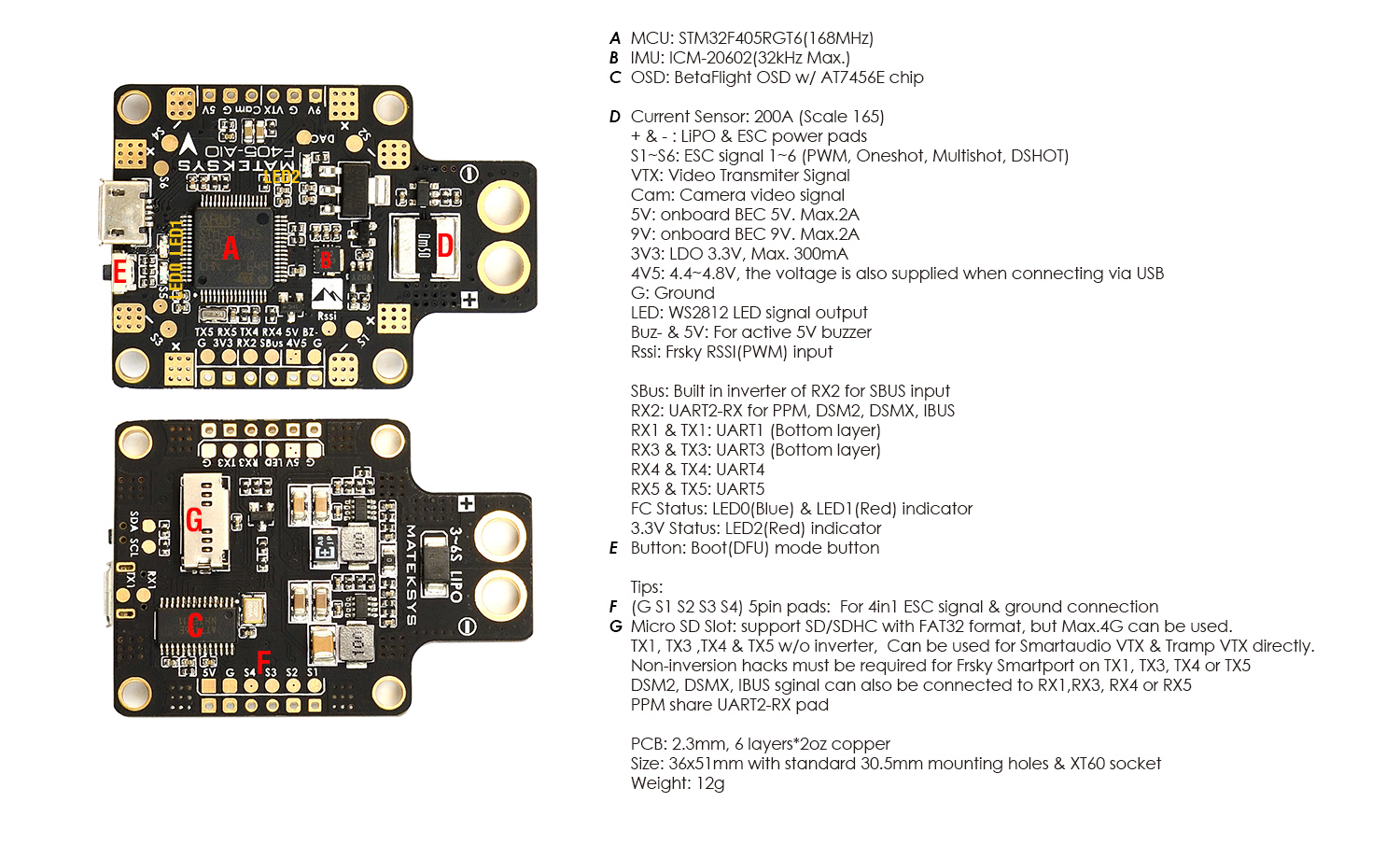 Flight Controller F405 Aio Eol Matek Systems Multiwii Wiring Diagram Fc Specifications