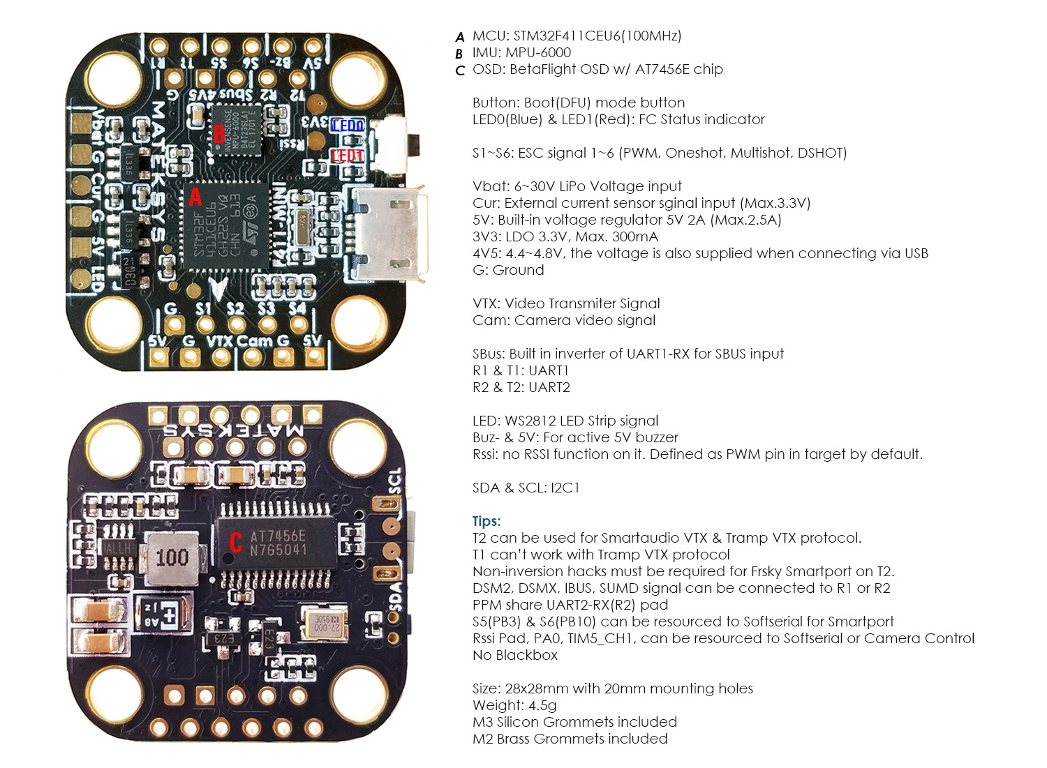 Flight Controller F411-mini, 20*20 – Matek Systems