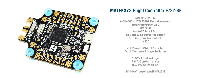Matek System F722-SE F7 Flight Controller w//OSD Dual Gryo BEC Current Sensor Black Box for 4 5 6 inch 210 220 230 240 250 Carbon Fiber FPV Racing Drone Quad Quadcopter Frame X H Frame
