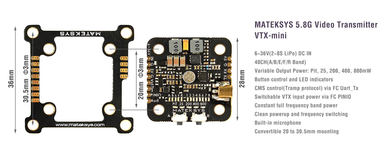 Video Transmitter 5 8g Vtx Mini 8s 800mw Matek Systems